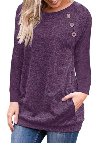 Triple Button Detail Purple Heather Sweatshirt
