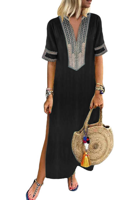 Black Bohemian Floral Print Split Maxi Dress