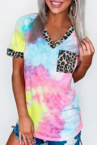 Sky Blue Hypnotized Tie Dye Leopard Top