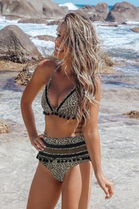 Black Stripe Tassel Trim High Waist Bikini