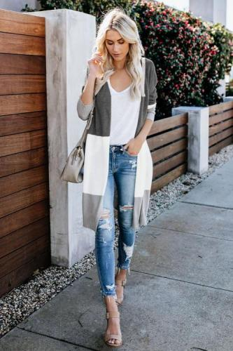 Gray Love The One You're With Colorblock Cardigan