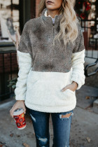 Gray Tie-dye Oversize Fluffy Fleece Pullover Sweatshirt