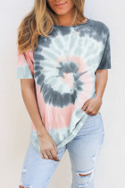 Gray Tie Dye Cotton Blend Tee