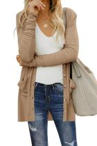 Khaki Button Down Pocketed Cardigan