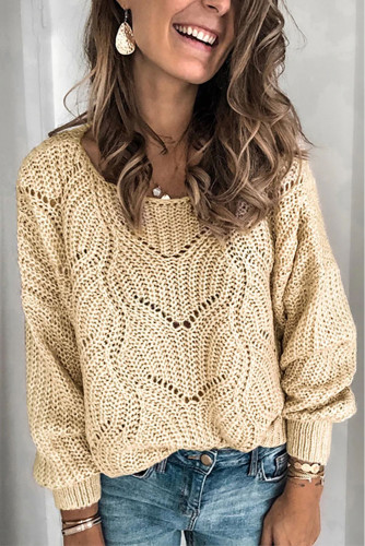 Khaki Hollow-out Round Neck Knitted Sweater