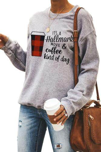 Coffee and Slogan Print Pullover Sweatshirt
