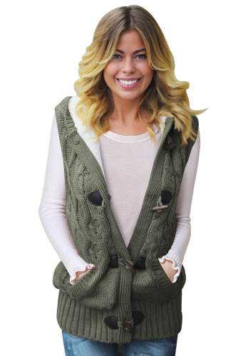 Green Cable Knit Hooded Sweater Vest
