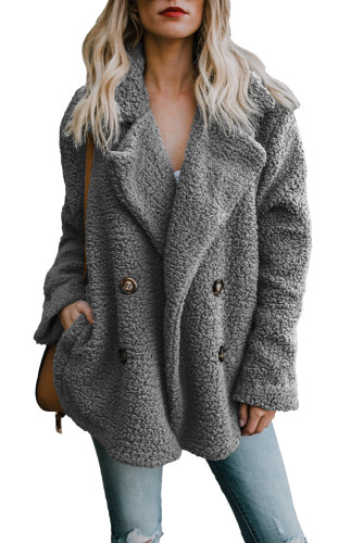 Gray Fleece Open Front Coat with Pockets