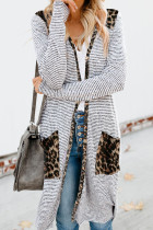 Leopard Patchwork Long Striped Cardigan with Pockets