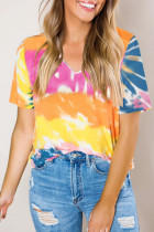 Yellow Gradient Tie Dye V Neck T-shirt