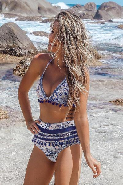 Blue Stripe Tassel Trim High Waist Bikini