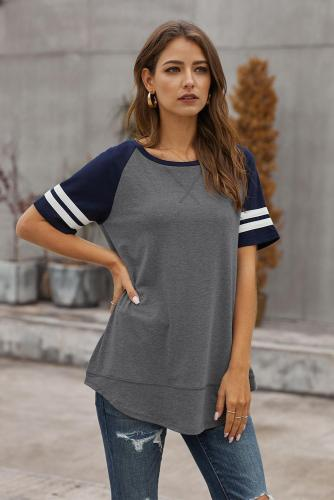 Dark Gray Color Block Contrast Short Sleeve T-shirt