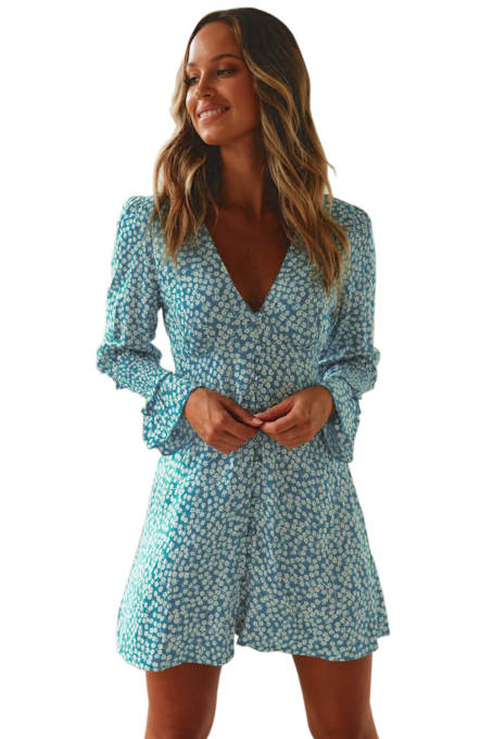 Sky Blue V Neck Floral Print Boho Ruffled Sleeve Dress