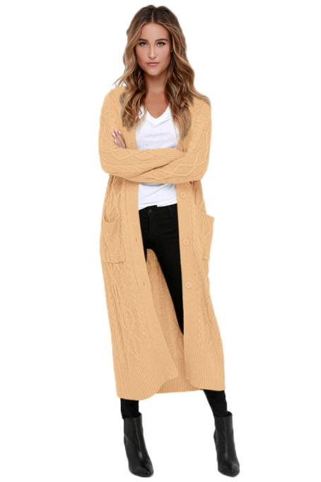 Khaki Cable Knit Long Cardigan