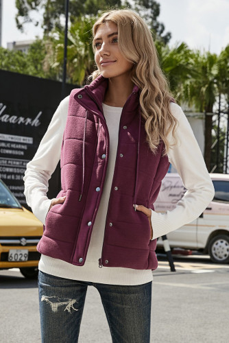 Wine Quilted Mock Neck Vest
