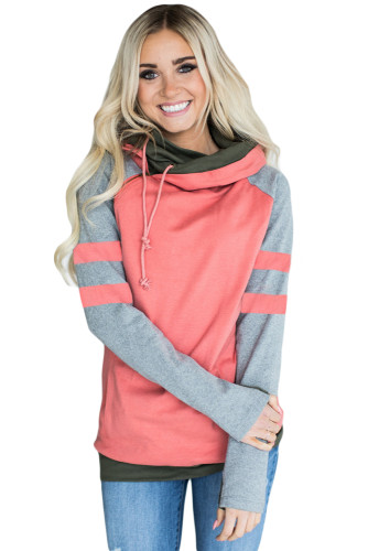 Coral Varsity Striped Sleeves Double Hooded Sweatshirt