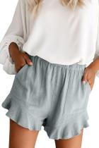 Gray Blue Linen Cotton Pocketed Flutter Shorts