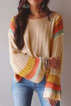 Apricot Colorblock Bell Sleeve Lightweight Sweater