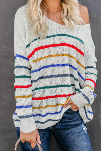 White Striped Knit Sweater