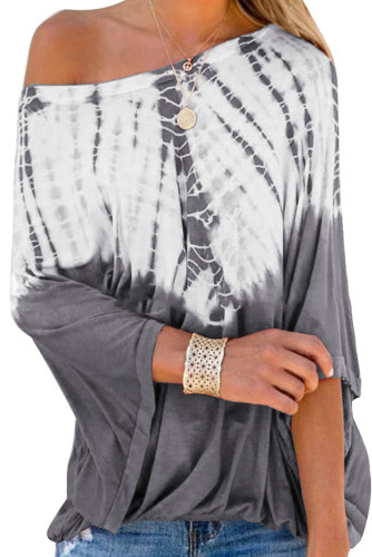 Gray Fashion Casual Tie Dye Print Blouse
