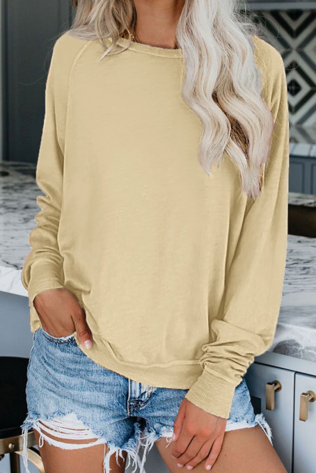 Apricot French Terry Cotton Blend Pullover Sweatshirt