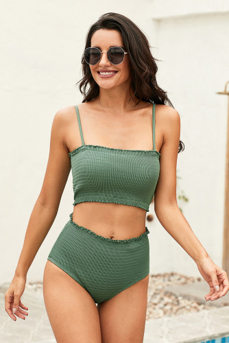 Green Smock High Waist Bikini
