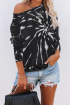 Black Cotton Blend Tie Dye Pullover Sweatshirt