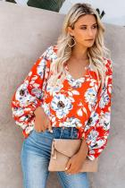 Orange Boho Print Balloon Sleeve Blouse