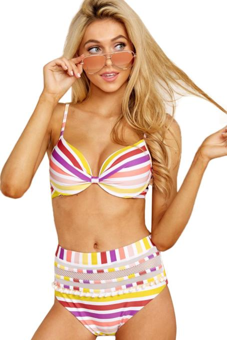 Multicolor Faith In Myself Multi Stripe Bikini