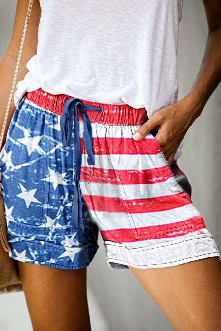 American Flag Drawstring Casual Elastic Waist Pocketed Shorts