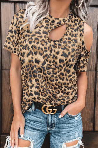 Leopard Cut out T-shirt