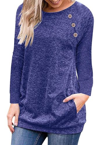 Triple Button Detail Blue Heather Sweatshirt
