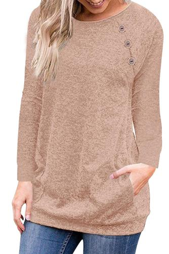 Triple Button Detail Khaki Heather Sweatshirt
