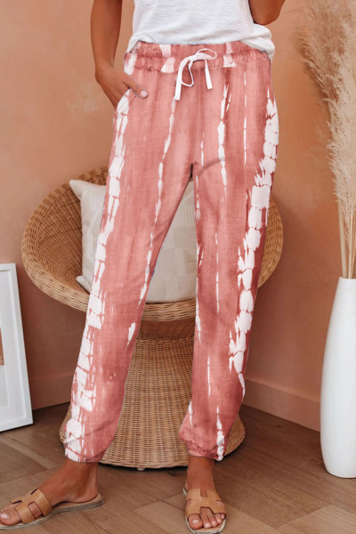 Pink Pocketed Tie-dye Knit Joggers