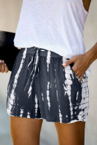 Gray Tie Dye Drawstring Casual Shorts