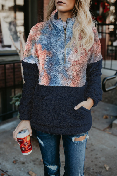 Blue Tie-dye Oversize Fluffy Fleece Pullover Sweatshirt