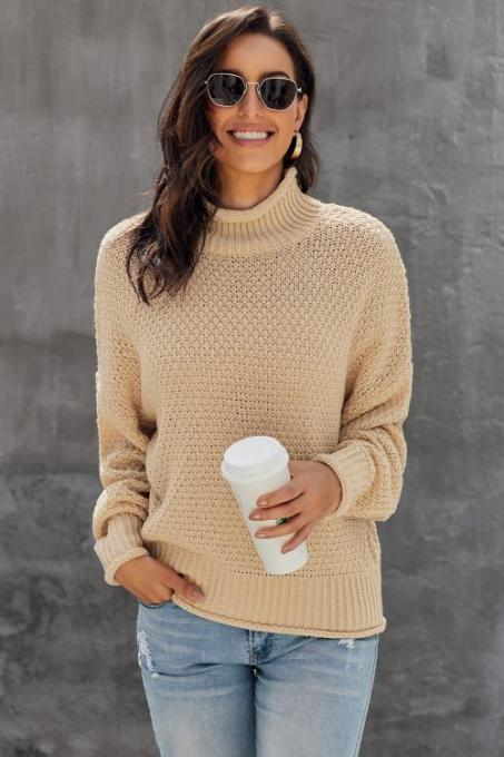 Apricot Oversized Chunky Batwing Long Sleeve Turtleneck Sweater