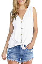 White Waffle Knit Tie Knot Tank Top