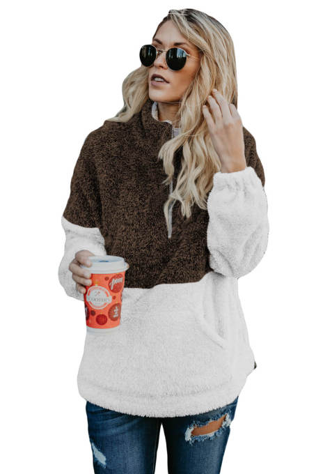 Brown White Zip Neck Oversize Fluffy Fleece Pullover