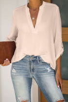 Apricot Split Collar Roll Up Sleeve Blouse