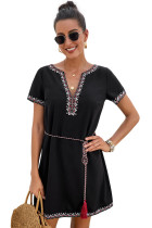 Black Summer Boho Embroidered V Neck Short Sleeve Casual Mini Dress