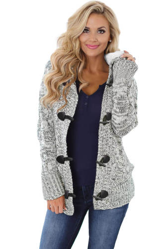 Heather Gray Fur Hood Horn Button Sweater Cardigan