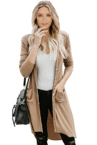 Khaki Selected Button Down Pocketed High Low Cardigan