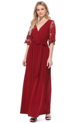 Red Floral Lace Half Sleeve Wrap V Neck Maxi Dress