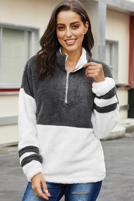Gray Colorblock Furry Zipped Pullover Sweatshirt Outwear