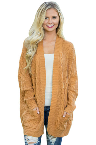 Mustard Knit Texture Long Cardigan