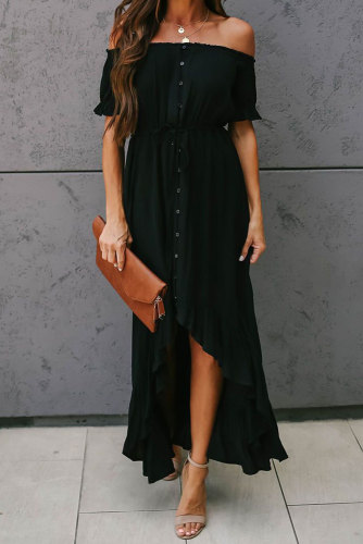 Black Glaze High Low Off The Shoulder Maxi Dress