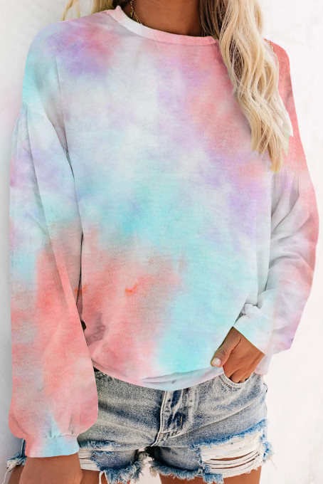Sky Blue Tie-dye Knit Sweatshirt