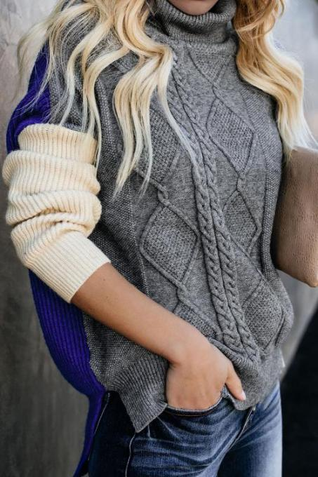 Gray Colorblock Cable Knit Sweater