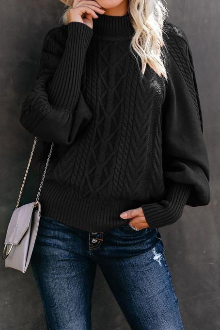 Black Housewarming Cable Knit Balloon Sleeve Sweater